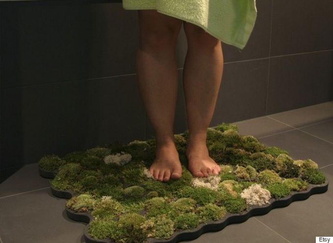 Зеленый коврик ванна, дизайн, креатив