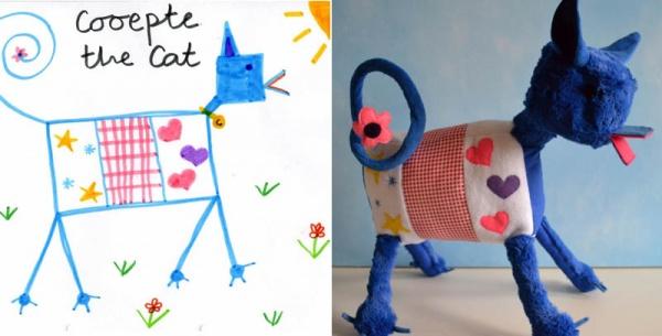 Превращение детских рисунков в мягкие игрушки