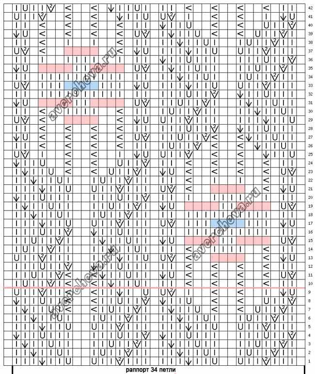 Описание схем вязания спицами из японских журналов 11