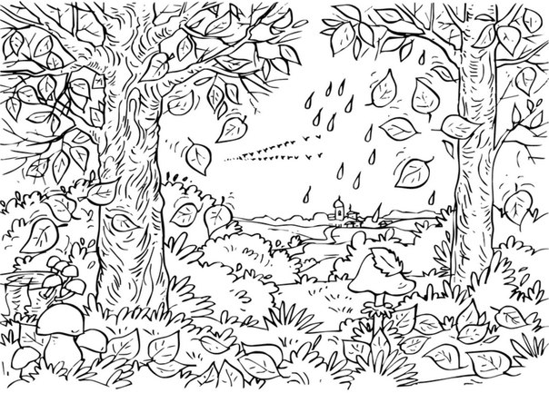Картинки раскраски осенний парк