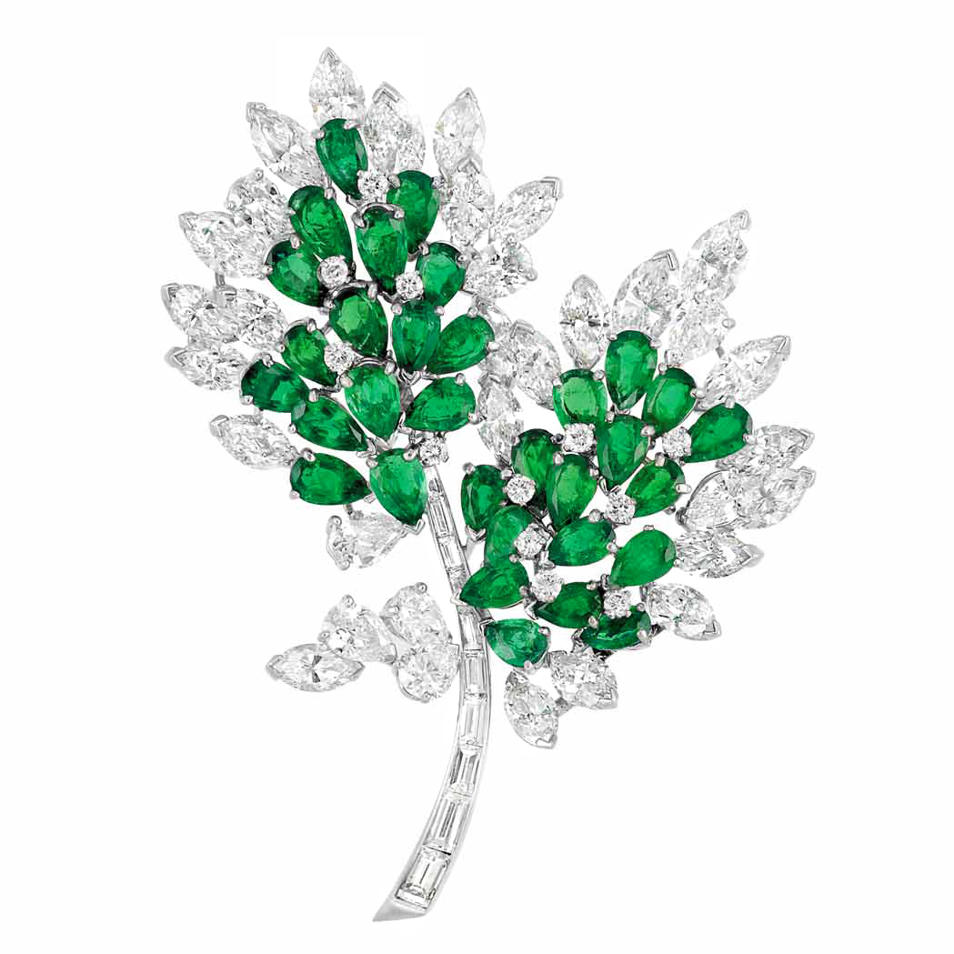 Platinum, Emerald and Diamond Clip Brooch