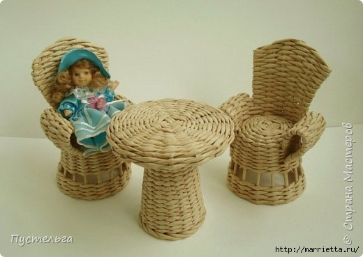 Плетение из газет, мебель для кукол
