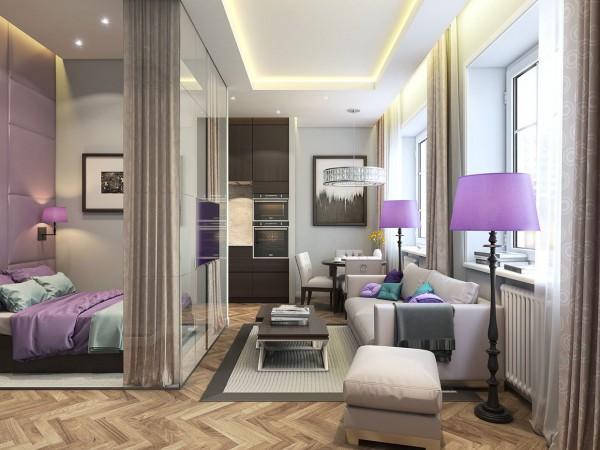 Однокомнатная квартирая студия в стиле luxury
