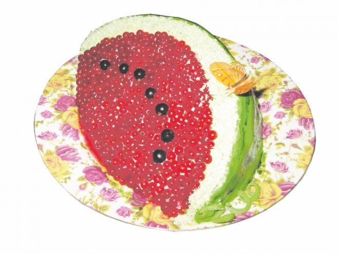 Готовим торт в виде сочной дольки арбуза