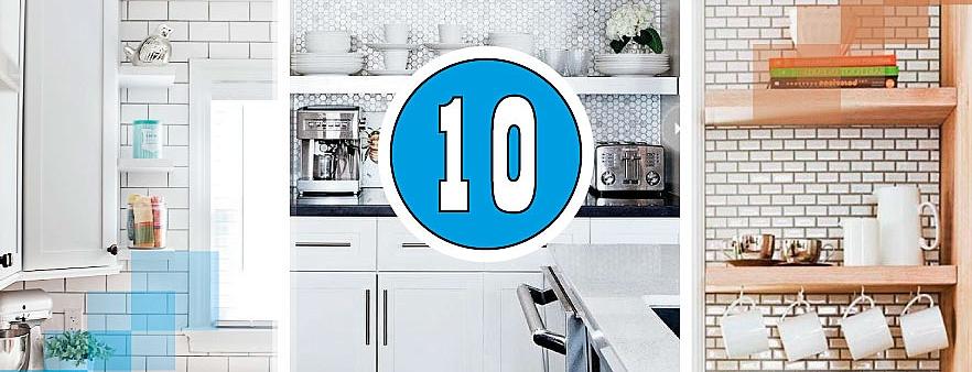 10 мест для плавающих полок на кухне