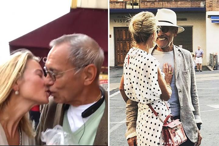Любовь и картошка: 81-летний Кончаловский и 45-летняя Высоцкая трогательно целуются на улицах Парижа