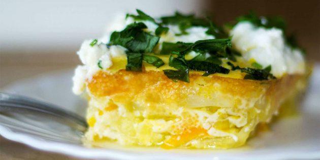 Блюда из кабачков: Запеканка из кабачков с брынзой и зеленью