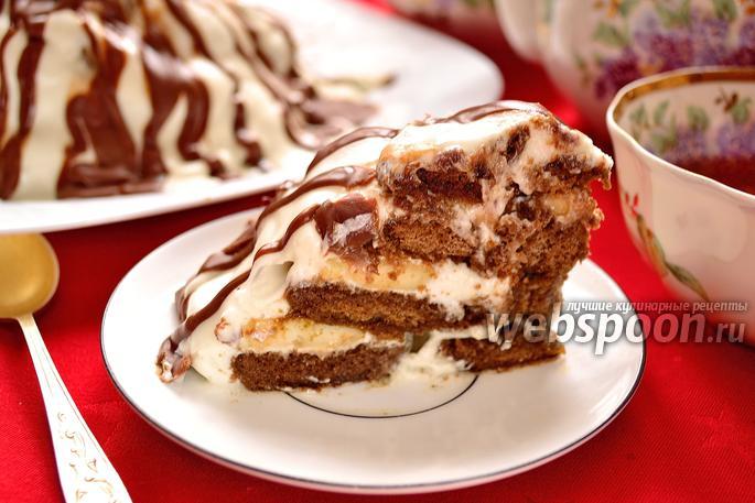 Торт из пряников с бананами и сметаной