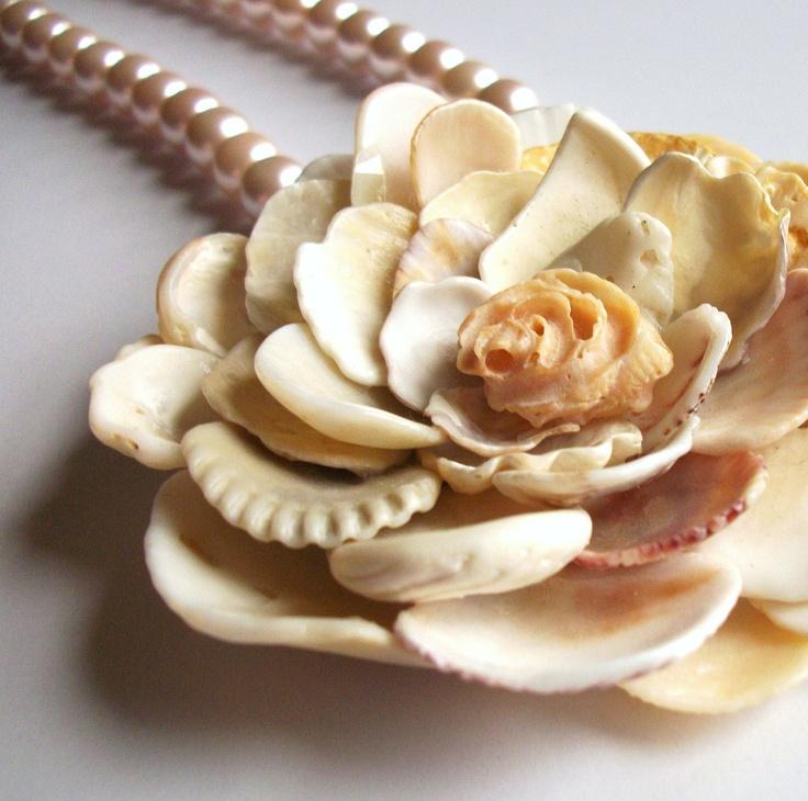 Sea Shell Жемчужное ожерелье, Shell Цветок с розовым жемчугом, Shell ювелирные изделия.