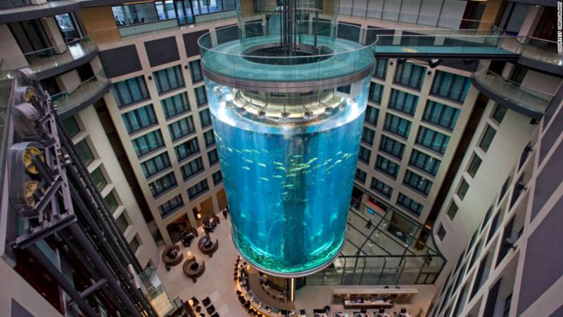 14. Самый большой аквариум в мире, Radission Blu hotel, Берлин. наш мир, удивительные фотографии