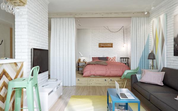 Стильный современный дизайн квартир студий 45 кв м