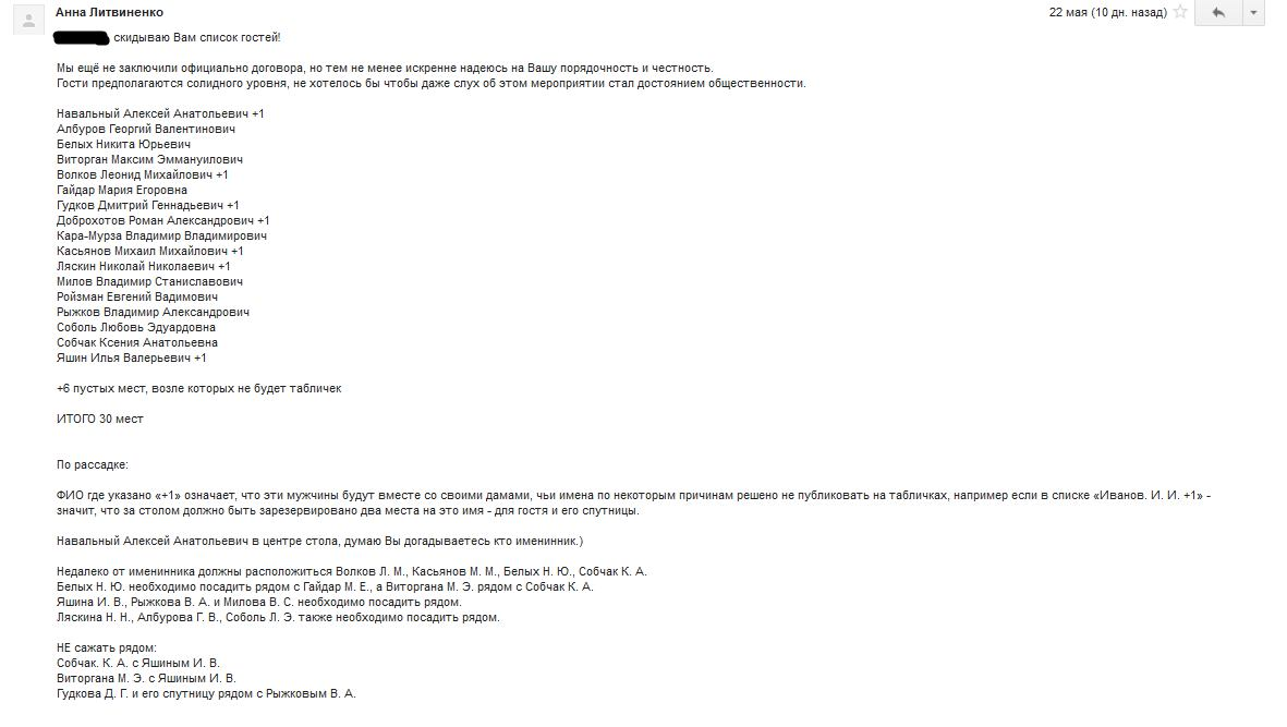 В блоги выложили смету на день рождения Навального с девочками и послом США