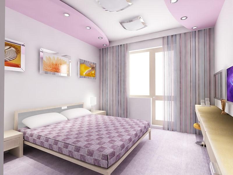 Дизайн потолков спальни из гипсокартона с