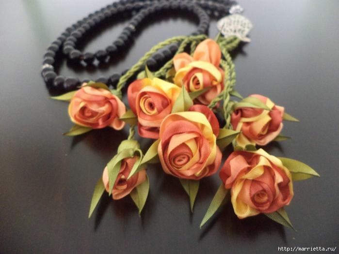 Миниатюрные цветы из ленточек. Мастер-классы (31) (700x525, 235Kb)