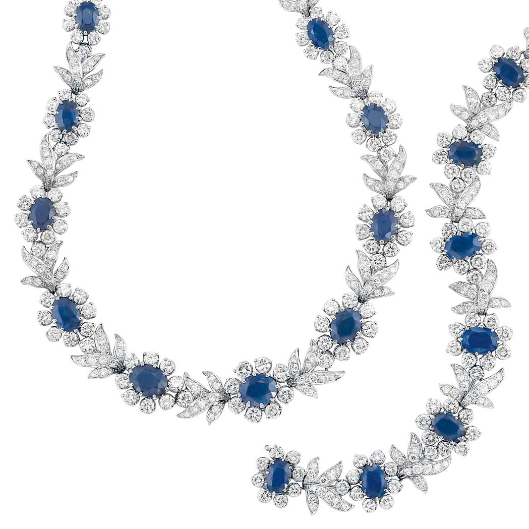 Platinum, Sapphire and Diamond Necklace and Brac