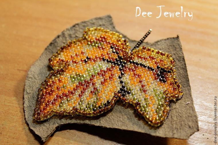 Осенний лист  - вышивка бисером по канве