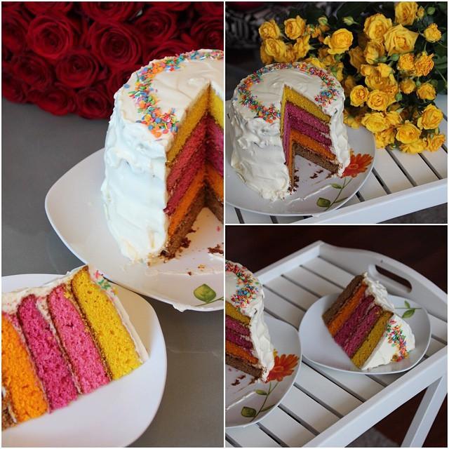 """""""Радужный"""" торт выпечка, красивая еда, кулинария, пироги"""