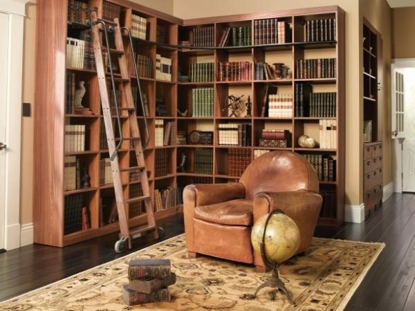Библиотека в доем - угловые полки