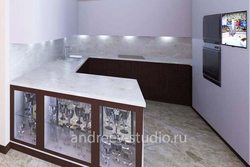 Фартук кухни может быть выполнен из крупноформатного керамогранита, например, в тон столешницы, если не стоит задача выделить фартук цветом (фото авторов).
