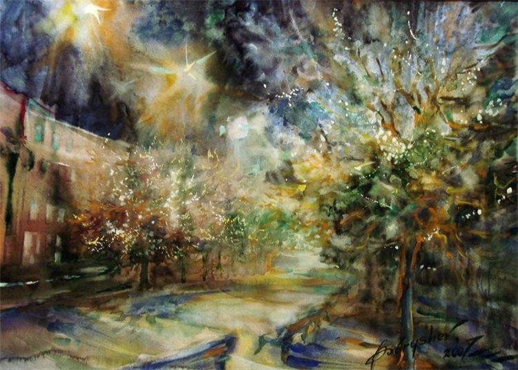 Свет, оставленный твоей рукой...необыкновенно выразительные в своем контрасте акварельные пейзажи Александра Бобрышева