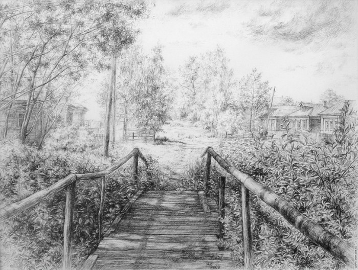 рисунки карандашом пейзажи - 09