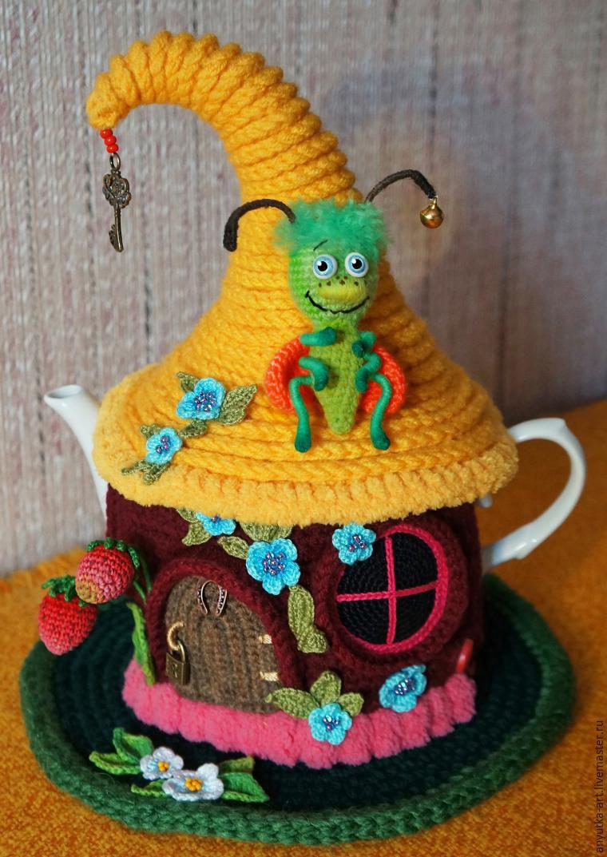 Вязание грелка на чайник домик