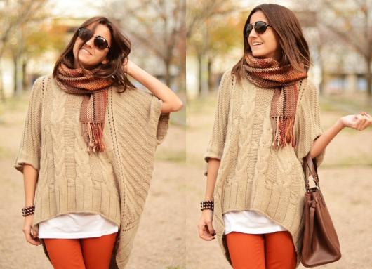 Пуловер пончо   фото