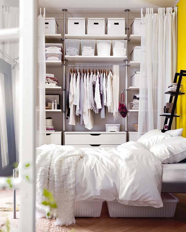 Хранение в маленькой спальне: трюки и идеи