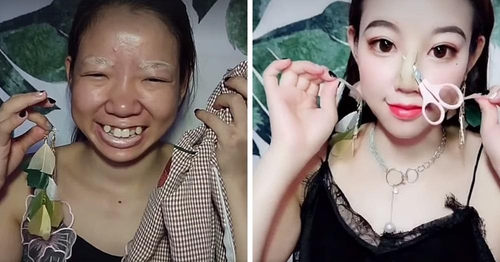 Китаянка превращается в другого человека с помощью макияжа. А потом снимает его, добивая зрителя