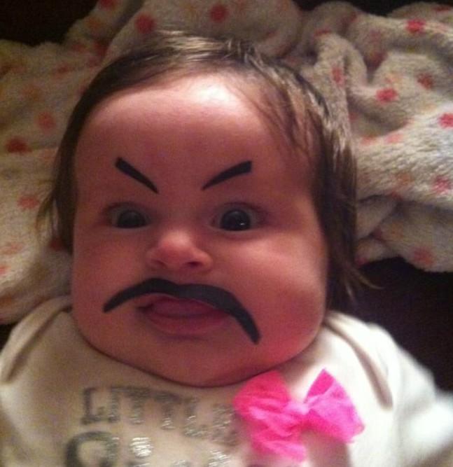 Первый макияж от папы дети, мама, папа, прикол, юмор