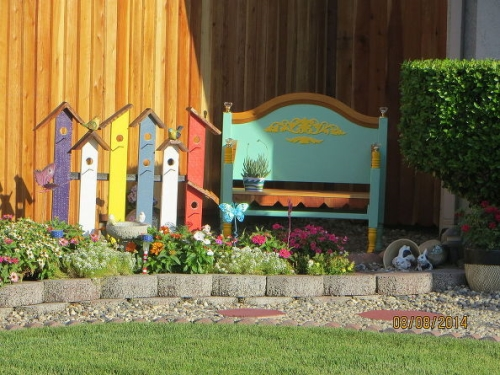 садовая скамейка из старой кровати своими руками