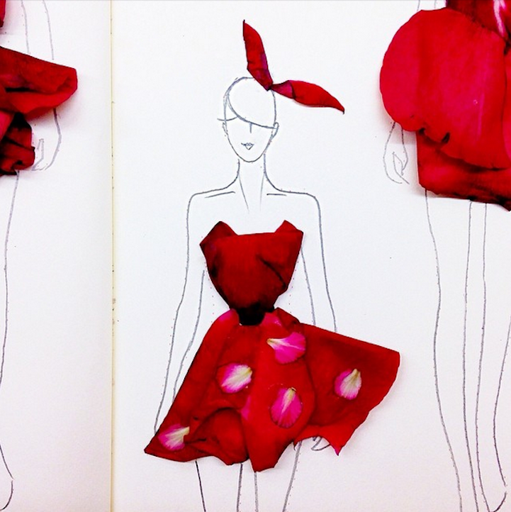 Fashionary Sketches with Flower Petals