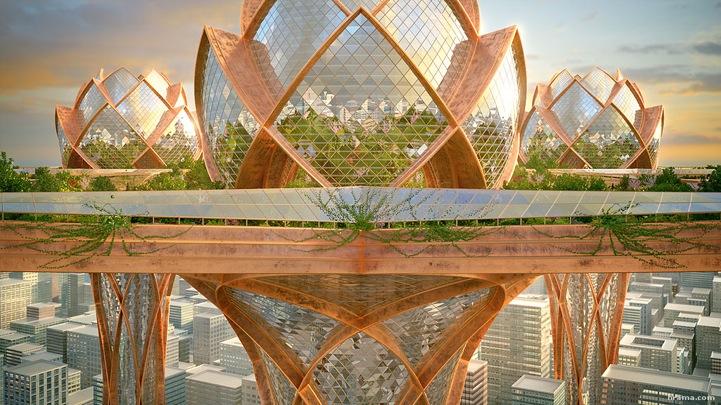 NewPix.ru - Футуристический город будущего форме лотоса в небе