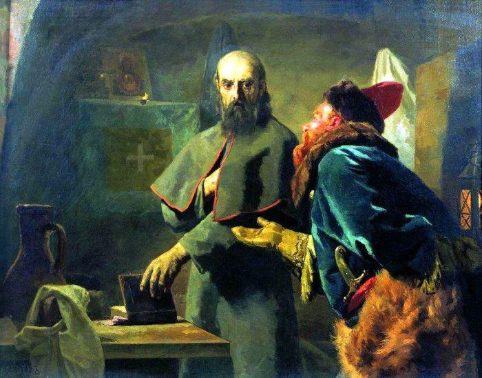 Н. В. Неврев «Митрополит Филипп и Малюта Скуратов». 1898 г.