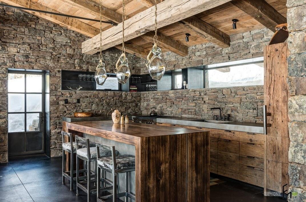 Дизайн кухни с деревом и камнем