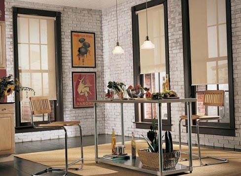 Фото штор на кухню с двумя окнами