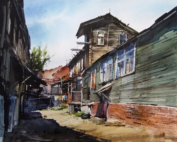 городской пейзаж художник Вячеслав Курсеев - 05