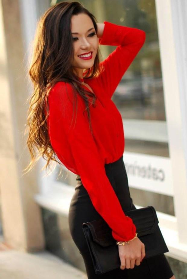 Как стильно носить красные блузки и рубашки летом и осенью 2018
