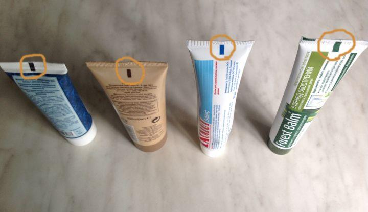 Знаете ли вы, что означают цветные метки на тюбиках с кремами, зубной пастой, средствами для волос и так далее?