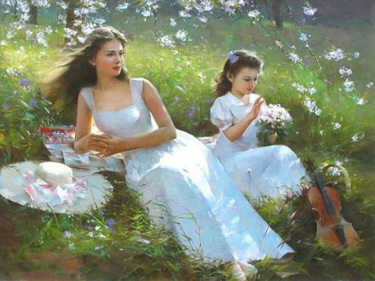 Chinese Painter:  An He  --  'Reflections Of Summer'