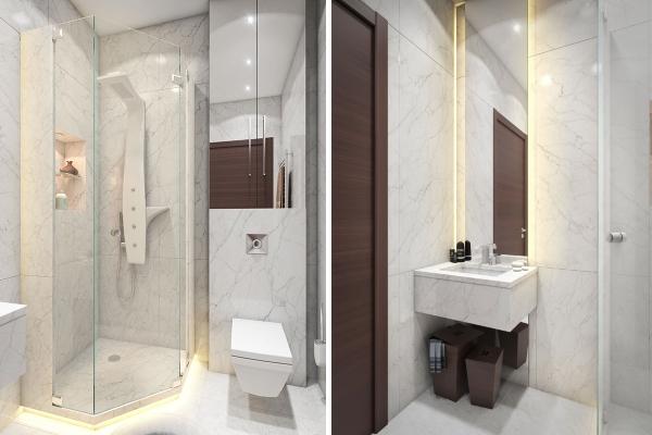 Мраморная ванная комната в дизайне 1 комнатной квартиры