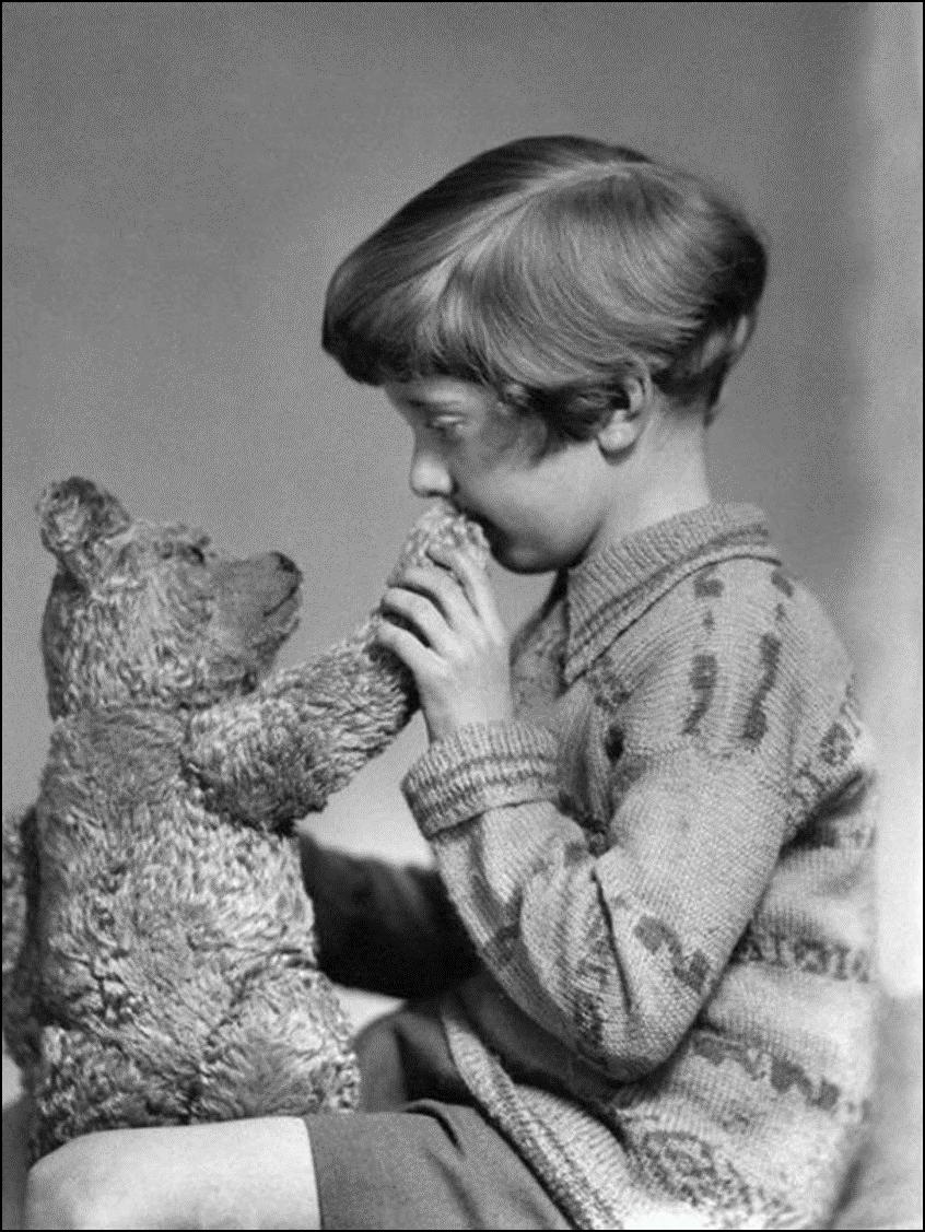 Настоящие Винни Пух и Кристофер Робин, 1927 Историческая фотография, история, факты
