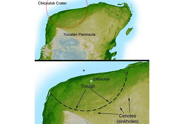 Расположение кратера на полуострове