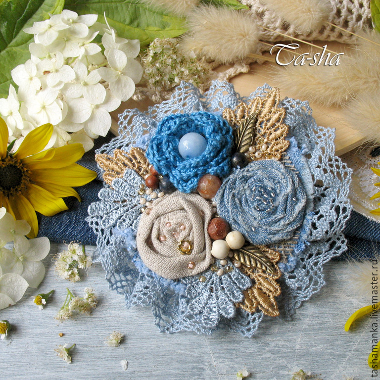 Цветы из ткани бохо своими руками