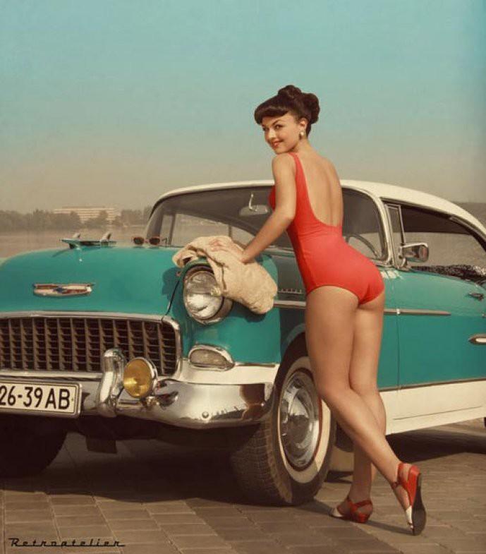 Старая реклама: ретро-авто с девушками девушки, машины, реклама, ретро