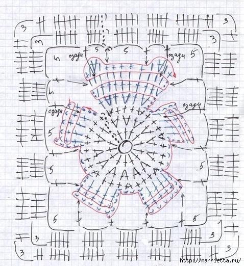 Схема вязания пледа мишки 721