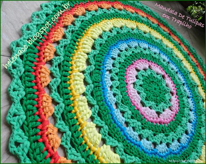 Очаровательный коврик из трикотажной пряжи. Схема