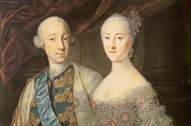 Пётр и Екатерина: совместный портрет работы Г. К. Гроота.