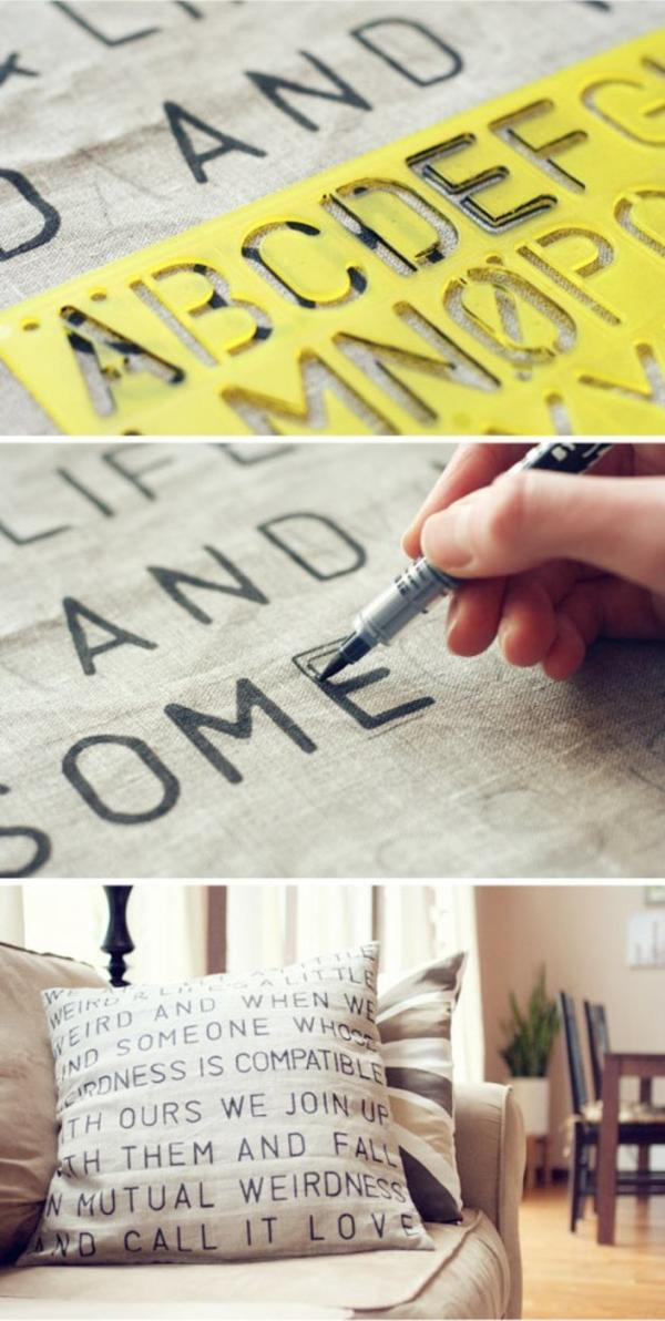 Подушки, декорированные надписями маркером для текстиля