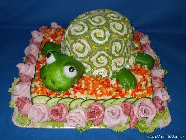 Соленый закусочный торт. Идеи оформления к ПАСХЕ (41) (594x450, 225Kb)